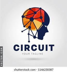 Circuit Human Head silhouette Logo/Icon