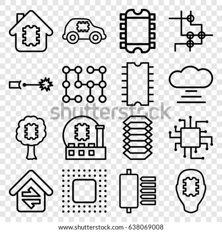Circuit Icons Set Set 16 Circuit Stock Vector Royalty Free