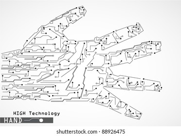 circuit microchip, high technology hand illustration. Conceptual design for communication, science and Internet technology backgrounds...