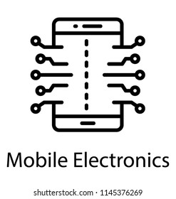 A circuit print embedded on smartphone screen, icon for mobile electronics