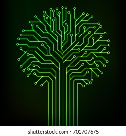 Circuit printed board in the shape of a tree with green neon lines