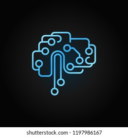Circuit tech brain outline blue icon. Vector Artificial Intelligence brain concept sign in line style on dark background