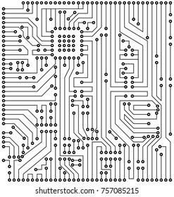 Circuit Texture, Digital Background, Engineering, Processing - Illustration Vector