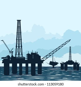 Circuit works the oil industry. Illustration on the extraction and processing of natural resources.