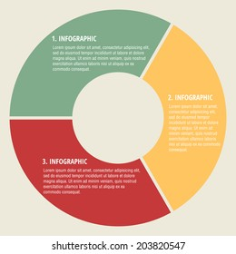 Circular 3 step Vector Info graphic for business project or presentation