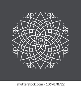 Circular abstract floral pattern in Arabic style. Round vector ornament. Mandala