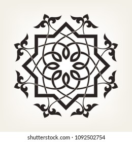 Circular abstract floral pattern in Arabic style. Monochrome round vector ornament. Mandala