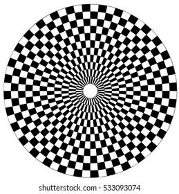 Circular area checkered black and white
