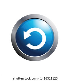 Circular arrow button refresh reload rotation rotate icon. Blue round web buttons with circular shape arrows.