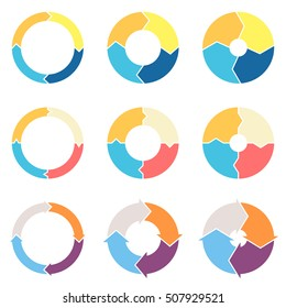 Circular arrows for infographics with 4 steps, parts, sections. Vector templates.
