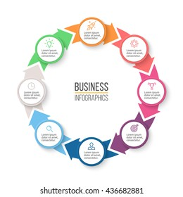 Circular arrows for infographics. Chart, graph, diagram with 8 steps, options, parts. Vector business template.