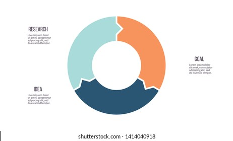 Circular arrows for infographics. Cycle chart, graph, diagram with 3 steps, options, parts. Vector circle.