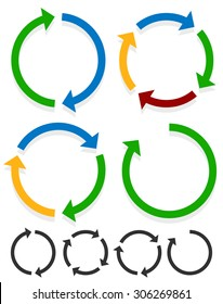 Circular arrows for recycle, repetition, rotation or cycle, synchronization, forward/backward concepts. Arrows in circle vector graphics.