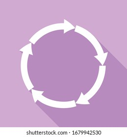Circular arrows sign. White Icon with long shadow at purple background. Illustration.