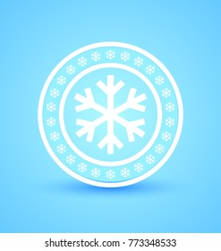Circular badge with snowflakes isolated on blue background