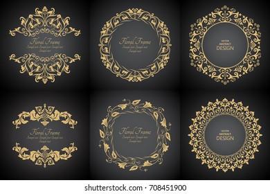 Circular baroque patterns. Round floral ornaments. Vintage frame. Greeting card. Wedding invitation. Retro style. Monogram decorative frames. Vector logo template, labels and badges. set.