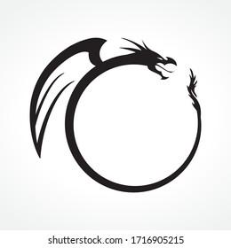 circular black dragon frame, vector