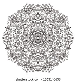 Circular Black and White Mandala on a white background. For tattoo design, prints, coloring book pattern illustrations. Drawing page for adults. Vector