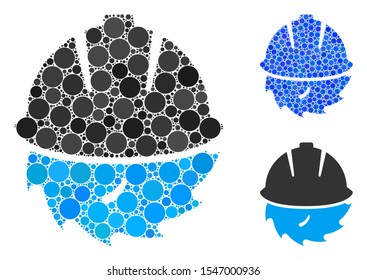 Circular blade safety composition of small circles in variable sizes and color tinges, based on circular blade safety icon. Vector small circles are organized into blue composition.