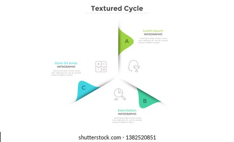 Circular chart with 3 paper white sectors. Concept of cyclical business process with three stages or phases. Minimal infographic design layout. Modern vector illustration for business presentation.