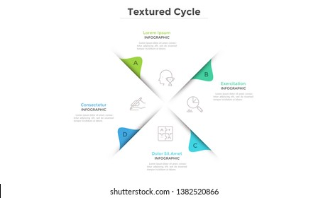 Circular chart with 4 paper white sectors. Concept of cyclical business process with four stages or phases. Minimal infographic design layout. Modern vector illustration for business presentation.