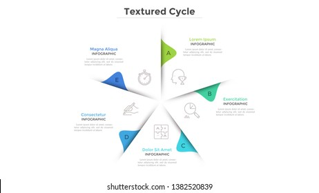 Circular chart with 5 paper white sectors. Concept of cyclical business process with five stages or phases. Minimal infographic design layout. Modern vector illustration for business presentation.