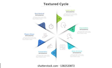 Circular chart with 6 paper white sectors. Concept of cyclical business process with six stages or phases. Minimal infographic design layout. Modern vector illustration for business presentation.