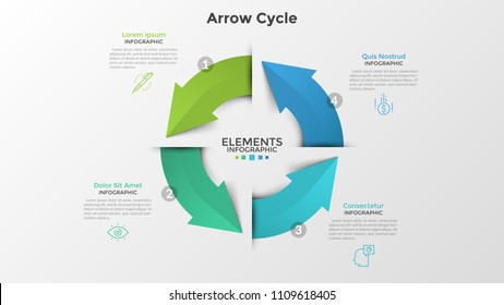 Circular chart with four colorful arrows, linear icons and place for text. Concept of 4-stepped closed production cycle. Creative infographic design template. Vector illustration for brochure.