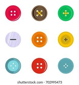 Circular clothes button icon set. Flat set of 9 circular clothes button vector icons for web isolated on white background