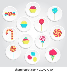 Circular and colorful candy icons with lollipops, ice cream, bubble gum and several candies. Colorful candy icons