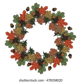 Circular composition. Autumn poster. Autumn time. White background with maple leaves and acorns