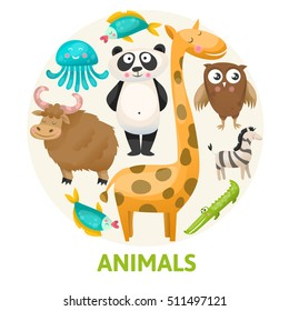 circular composition with zoo animals