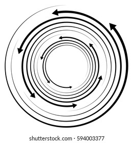 Circular concentric arrows. Cyclic, cycle arrows. Arrow element to illustrate Ripple, swirl, twirl concepts