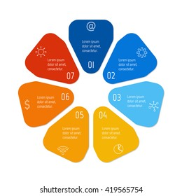 Circular connected infographic diagram. Flower chart with 7 options. Paper progress steps for tutorial with seven parts. Isolated business concept sequence banner. EPS10 workflow layouts.
