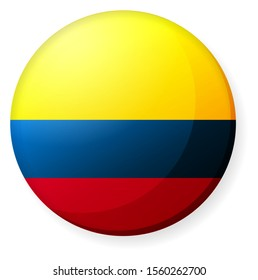 Circular country flag icon illustration ( button badge ) / Colombia