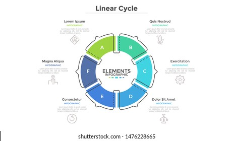 Circular cyclic diagram divided into 6 colorful sectors with arrows or pointers. Concept of six steps or stages of production cycle. Linear infographic design template. Modern vector illustration.