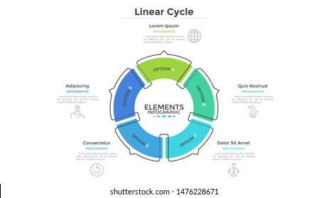 Circular cyclic diagram divided into 5 colorful sectors with arrows or pointers. Concept of five steps or stages of production cycle. Linear infographic design template. Modern vector illustration.