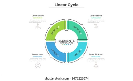 Circular cyclic diagram divided into 4 colorful sectors with arrows or pointers. Concept of four steps or stages of production cycle. Linear infographic design template. Modern vector illustration.