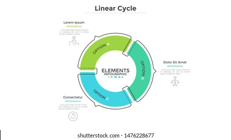 Circular cyclic diagram divided into 3 colorful sectors with arrows or pointers. Concept of three steps or stages of production cycle. Linear infographic design template. Modern vector illustration.