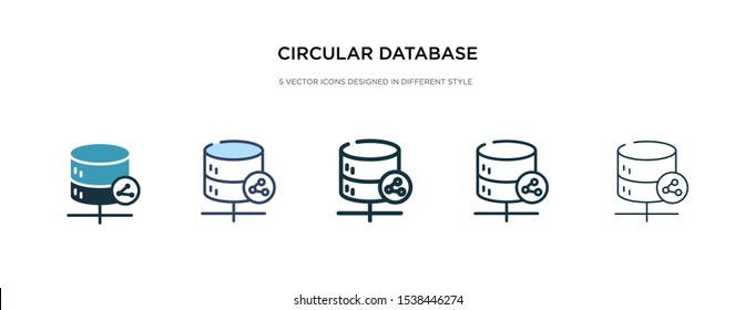 circular database icon in different style vector illustration. two colored and black circular database vector icons designed in filled, outline, line and stroke style can be used for web, mobile, ui