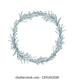 Circular decoration or wreath made of rosemary hand drawn with contour lines on white background. Decorative frame consisted of aromatic culinary herb or condiment. Botanical vector illustration.