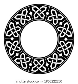 Circular decorative border with celtic ornament. Traditional medieval celtic knots pattern. Black and white design. Vector illustration