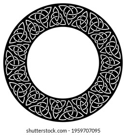Circular decorative border with celtic pattern. Black and white ornament with medieval triquetra symbols. Traditional celtic triple motives. Vector illustration