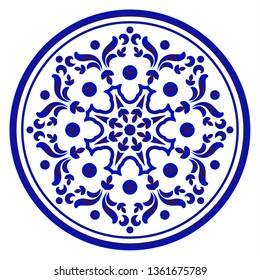 Circular decorative ornament, blue and white Mandala, decorative art frame, abstract floral round pattern, ceramic background design, porcelain pottery flower decor vector illustration