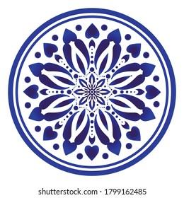 Circular decorative ornament, blue and white Mandala, indigo decorative art frame, abstract floral round pattern, ceramic background design, Arabic, porcelain pottery flower decor vector illustration