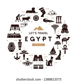 Circular design pattern of filled icons on the theme of sights and symbols of Egypt with place for text. Sights and symbols of Egypt.