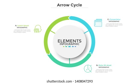 Circular diagram divided into 3 colorful arrow-like parts. Concept of three stages of cyclic process. Simple infographic design template. Flat vector illustration for visualization of business data.