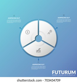 Circular diagram divided into 3 sectors with thin line symbols inside and text boxes. Three options of personal financial planning concept. Futuristic infographic design template. Vector illustration.