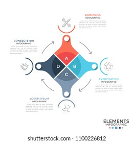 Circular diagram divided into 4 colorful parts connected by arrows, linear symbols and place for text. Concept of cycle of industrial production. Modern infographic design layout. Vector illustration.