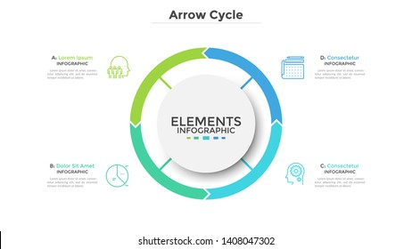 Circular diagram divided into 4 colorful arrow-like parts. Concept of four stages of cyclic process. Simple infographic design template. Flat vector illustration for visualization of business data.